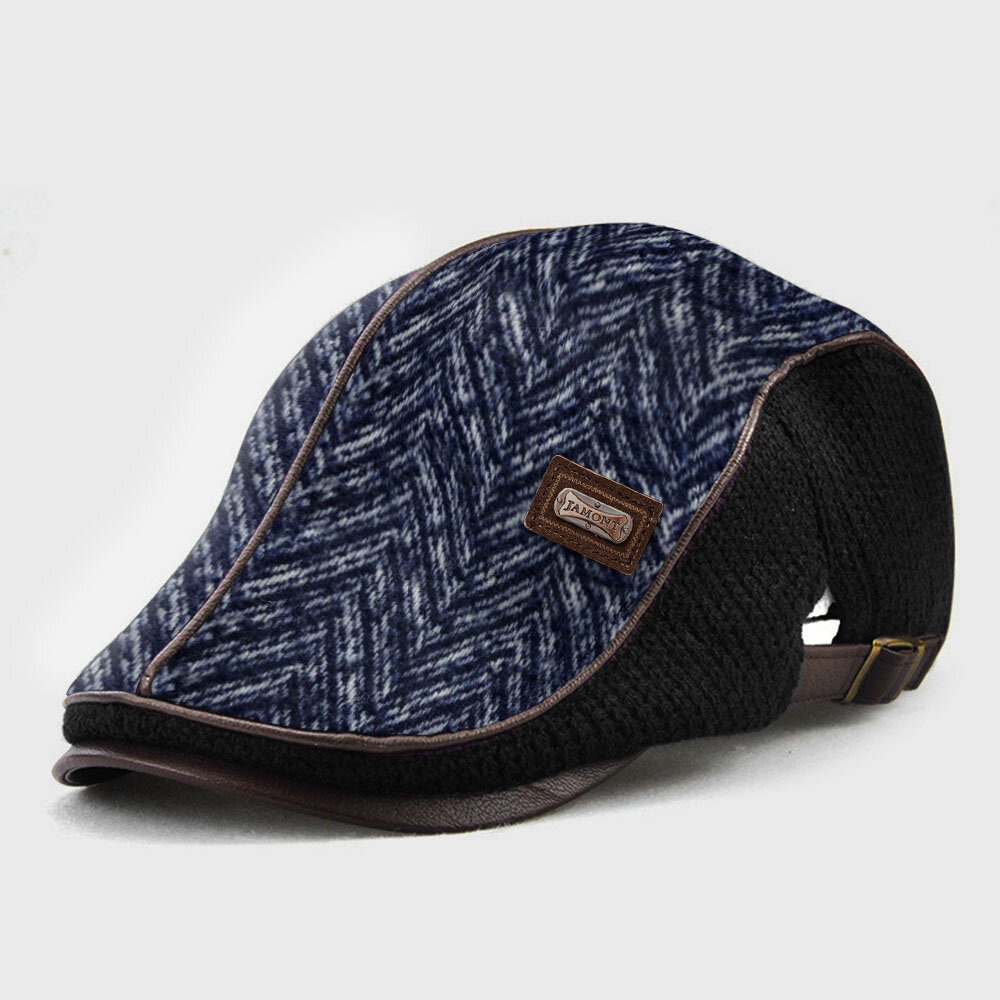 COLLROWN Men Knit Leather Line Patchwork Color Casual Personality Forward Hat Beret Hat