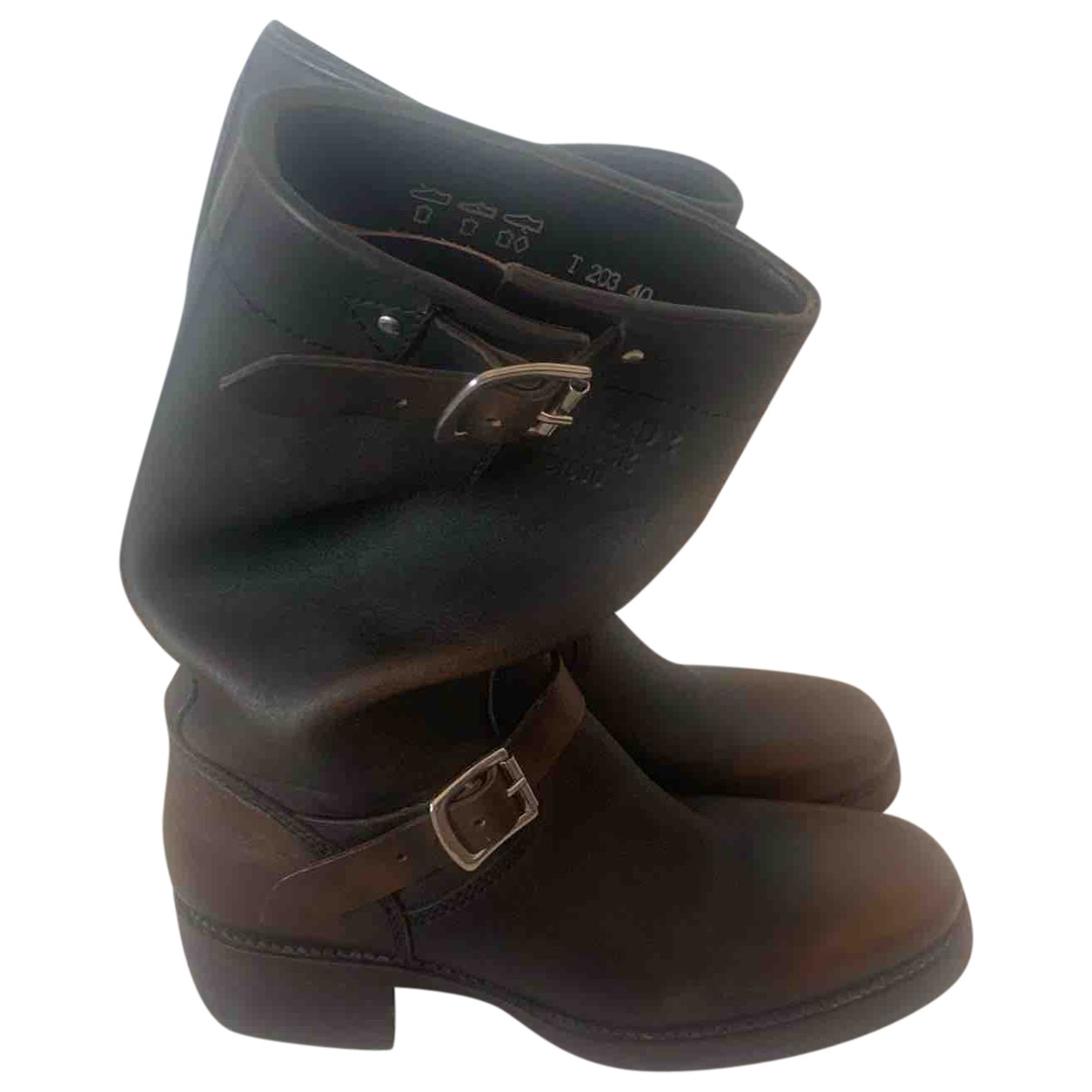 Dsquared2 N Brown Leather Boots for Men 40 EU