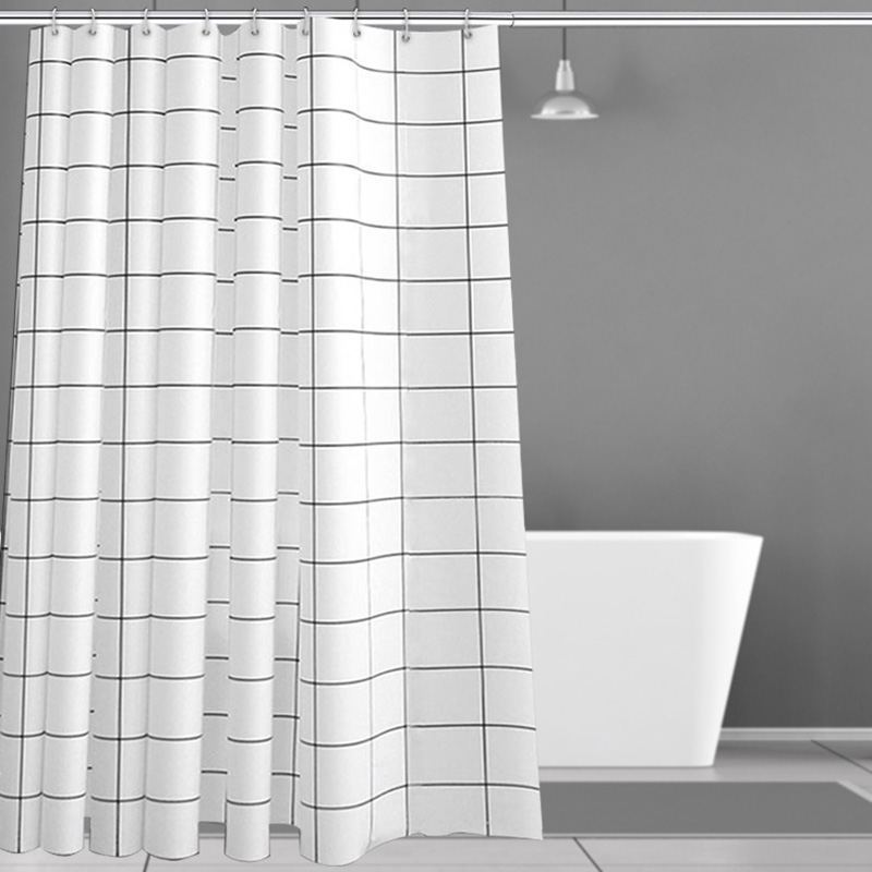 Waterproof 100% Anti-Bacterial PEVA Polyester Black and White Grid Shower Curtains No Fading No Yellowing Free Hooks