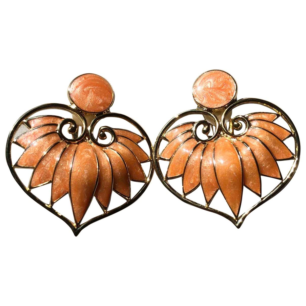- Boucles d'oreilles Motifs Coeurs pour femme en metal - orange
