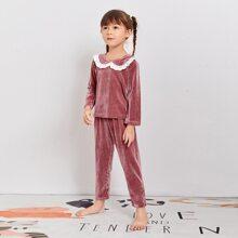 Samt Schlafanzug Set mit Schiffy Saum