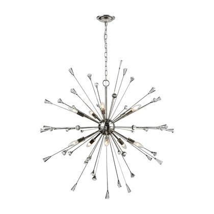 33031/10 Sprigny 10-Light Chandelier in Polished Nickel with Clear
