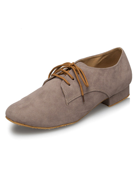 Milanoo Gray Latin Dance Shoes Lace Up PU Ballroom Shoes for Men