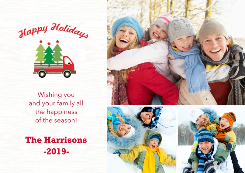 Holiday Photo Cards 5x7 Cards, Premium Cardstock 120lb with Elegant Corners, Card & Stationery -Truckful Of Trees