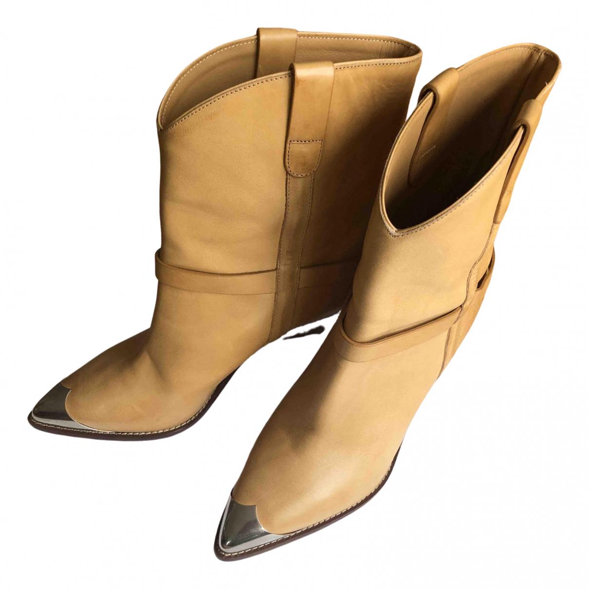 Isabel Marant - Boots Lamsy pour femme en cuir - beige