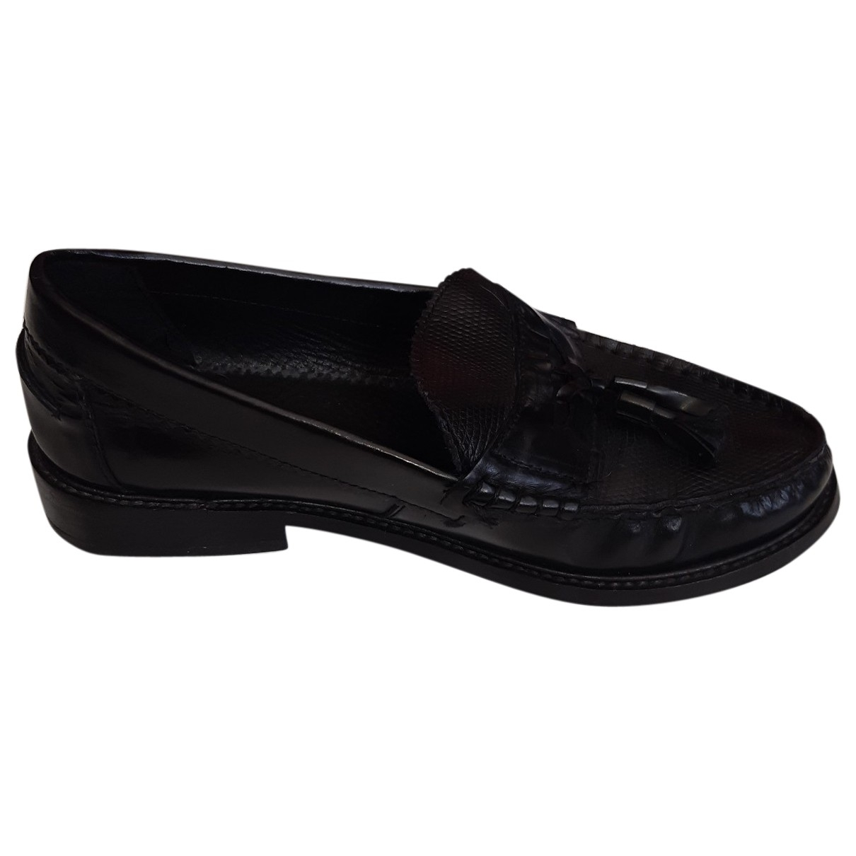 tophop \N Black Leather Flats for Women 37 EU