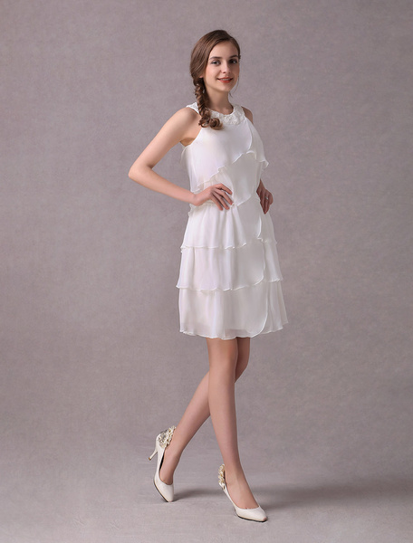 Milanoo Simple Wedding Dresses Ivory Chiffon Cocktail Party Dress Beaded Tiered A Line Halter Short Bridal Dress