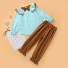 Toddler Girls Ruffle Bow Front Blouse With Pants