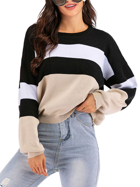 Milanoo Women Pullover Sweater Apricot Round Neck Long Sleeves Stripes Sweaters