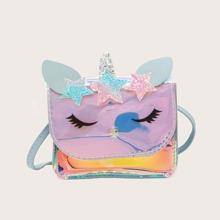 Girls Holographic Unicorn Graphic Crossbody Bag
