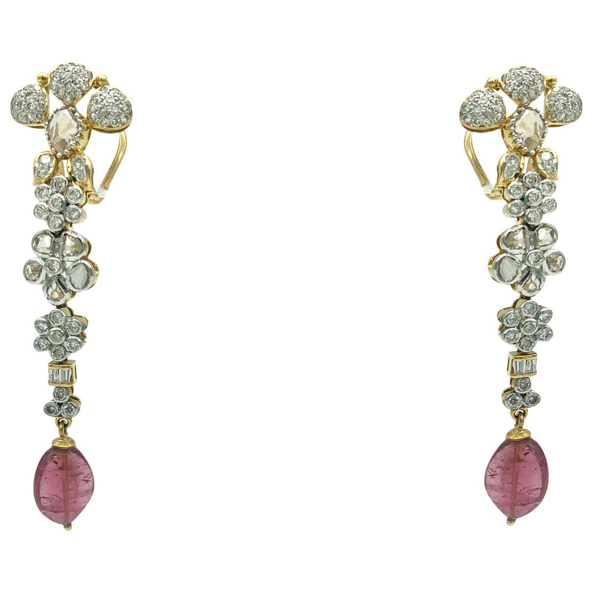 - Collier Motifs Floraux pour femme en or jaune - rose