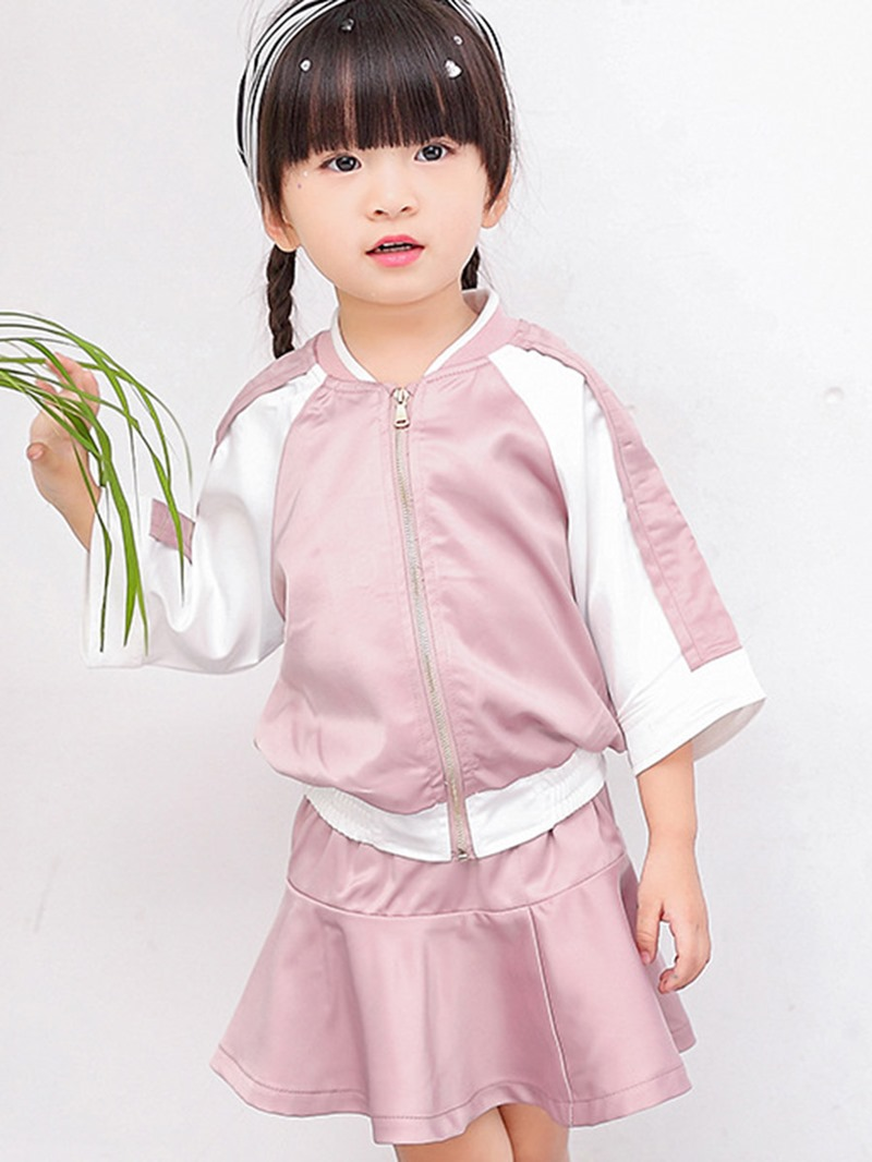 Ericdress Color Block Jacket Pink Skirt 2-Pcs Girls Outfit