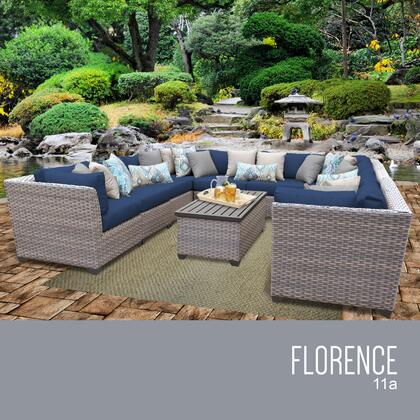 FLORENCE-11a-NAVY Florence 11 Piece Outdoor Wicker Patio Furniture Set 11a with 2 Covers: Grey and