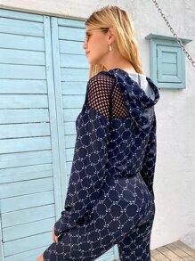 Sweatshirt mit Fischnetz, Anker Muster, Kordelzug und Kapuze