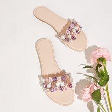 Gemstone Decor Slide Sandals