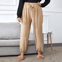 Flanell Schlafhose mit Kordelzug um die Taille und elastischen Manschetten