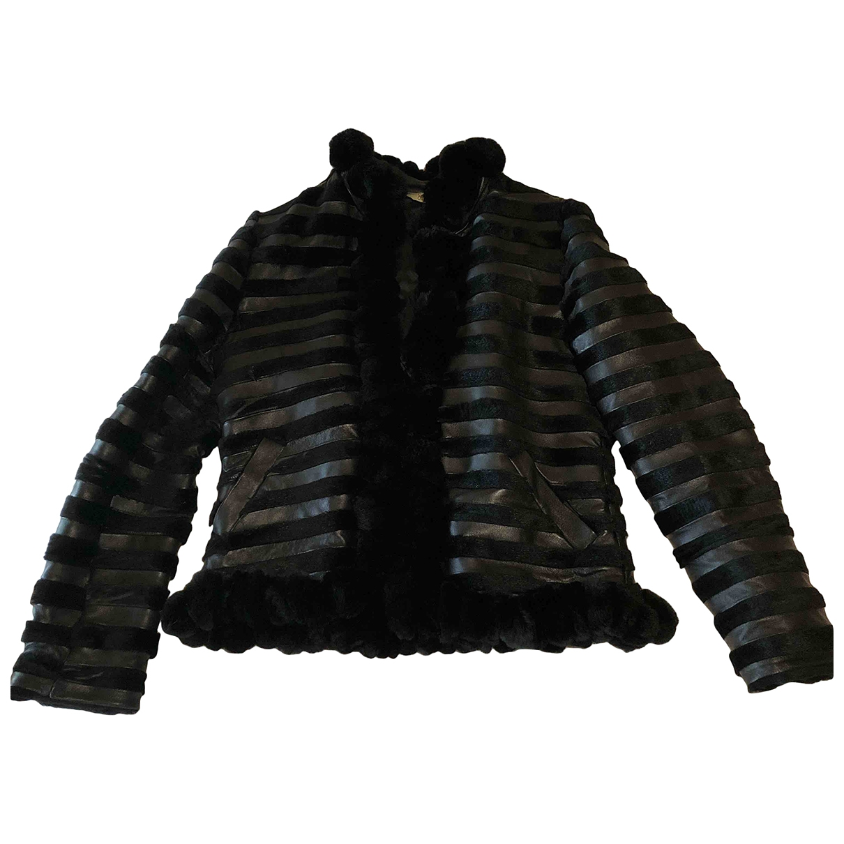 Non Signé / Unsigned \N Black Leather jacket for Women 40 FR