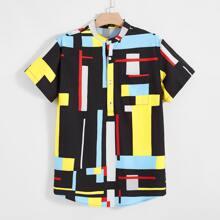 Hemd mit Taschen Flicken, gebogenem Saum und Farbblock