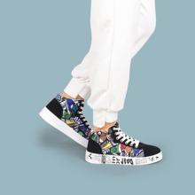 Zapatillas deportivas con estampado de dibujos animados con cordon delantero
