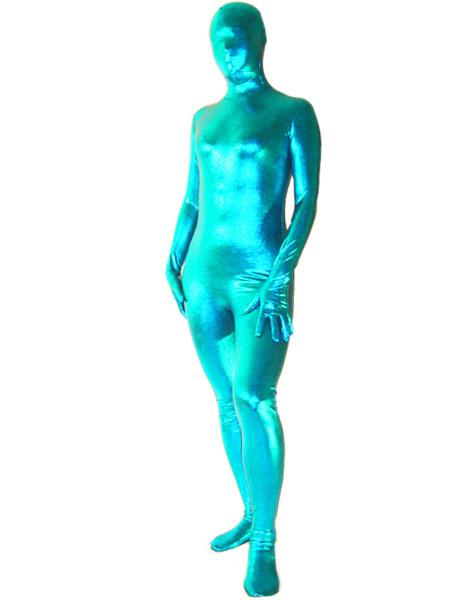 Milanoo Disfraz Halloween Zentai azul de brillo metalico  Halloween