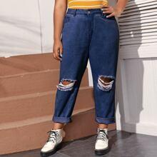 Jeans mit Riss Detail ohne Guertel