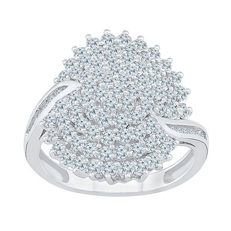Womens 1 1/4 CT. T.W. Genuine White Diamond 10K White Gold Flower Cluster Cocktail Ring, 4 , No Color Family