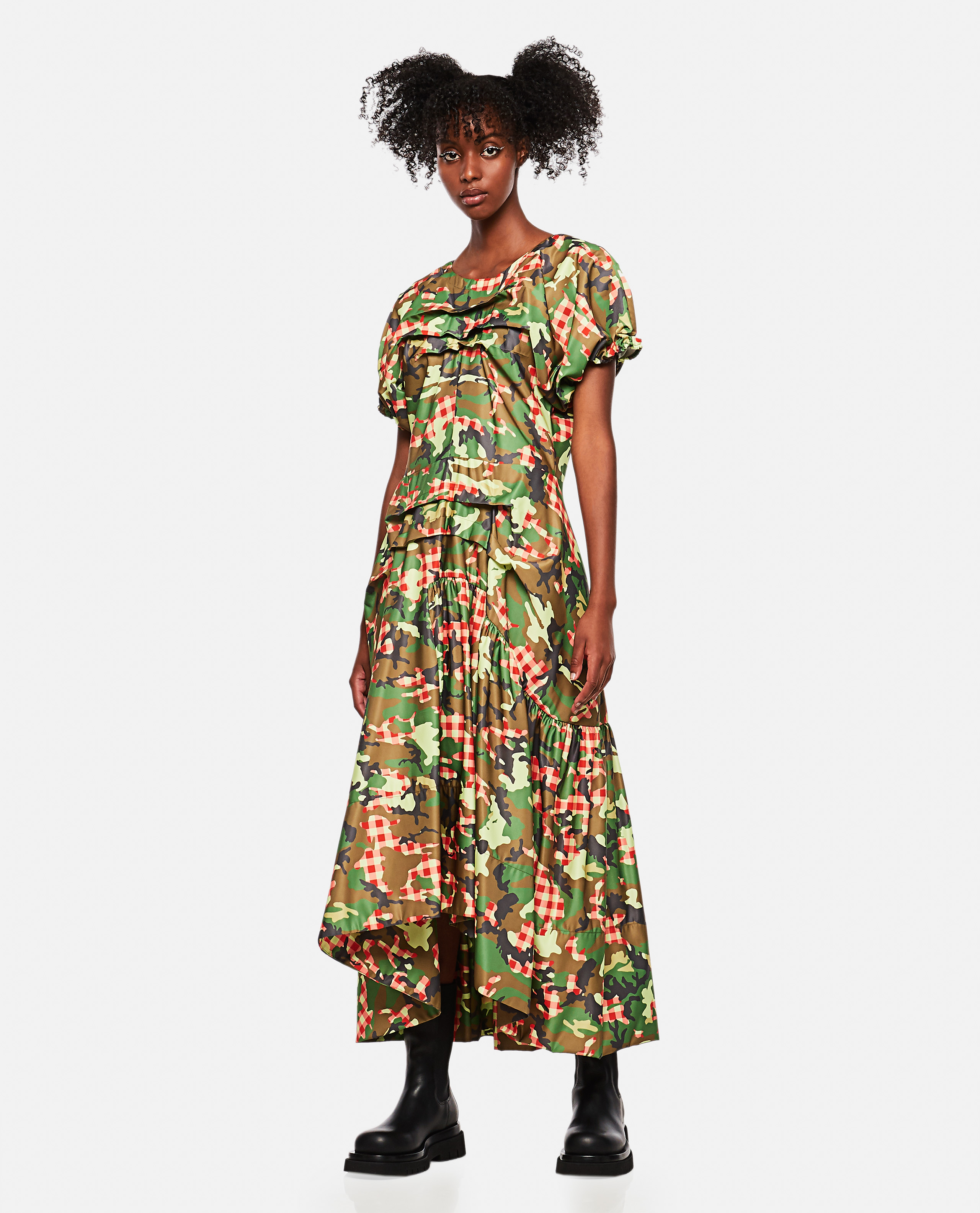 Midi dress with camouflage print