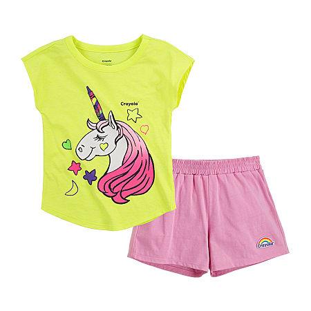 Crayola Baby Girls 2-pc. Short Set, 24 Months , Pink