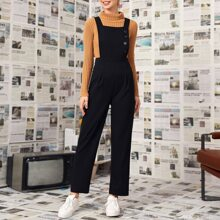 Button Front Zipper Back Solid Overall