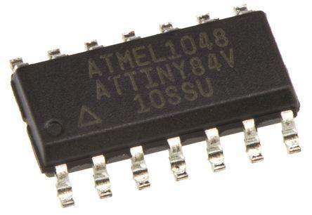 Microchip ATTINY84V-10SSU, 8bit AVR Microcontroller, AVR, 10MHz, 8 kB Flash, 14-Pin SOIC (5)