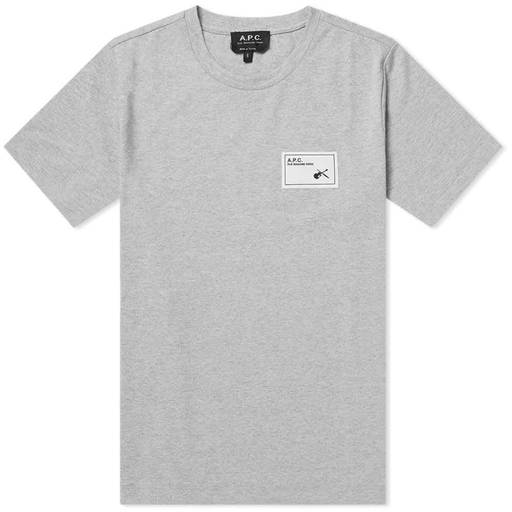 A.P.C Patch Logo Pepper T-Shirt Colour: GREY, Size: EXTRA LARGE