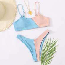 Color Block High Cut Bikini Swimsuit