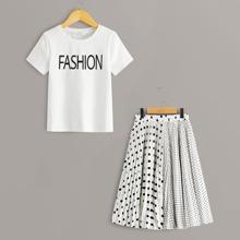 Maedchen T-Shirt mit Buchstaben Muster & Rock Set mit Punkten Muster und Falten