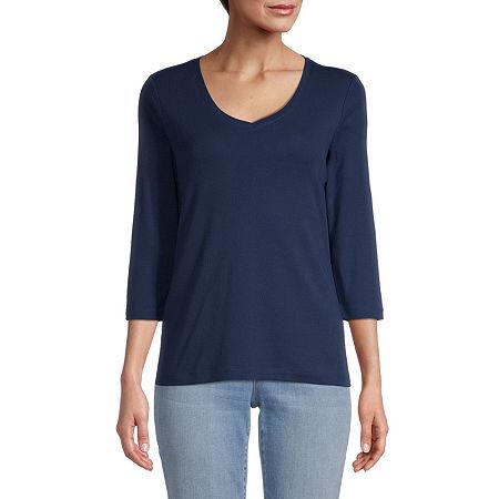 St. Johns Bay-Womens V Neck 3/4 Sleeve T-Shirt, Medium , Blue