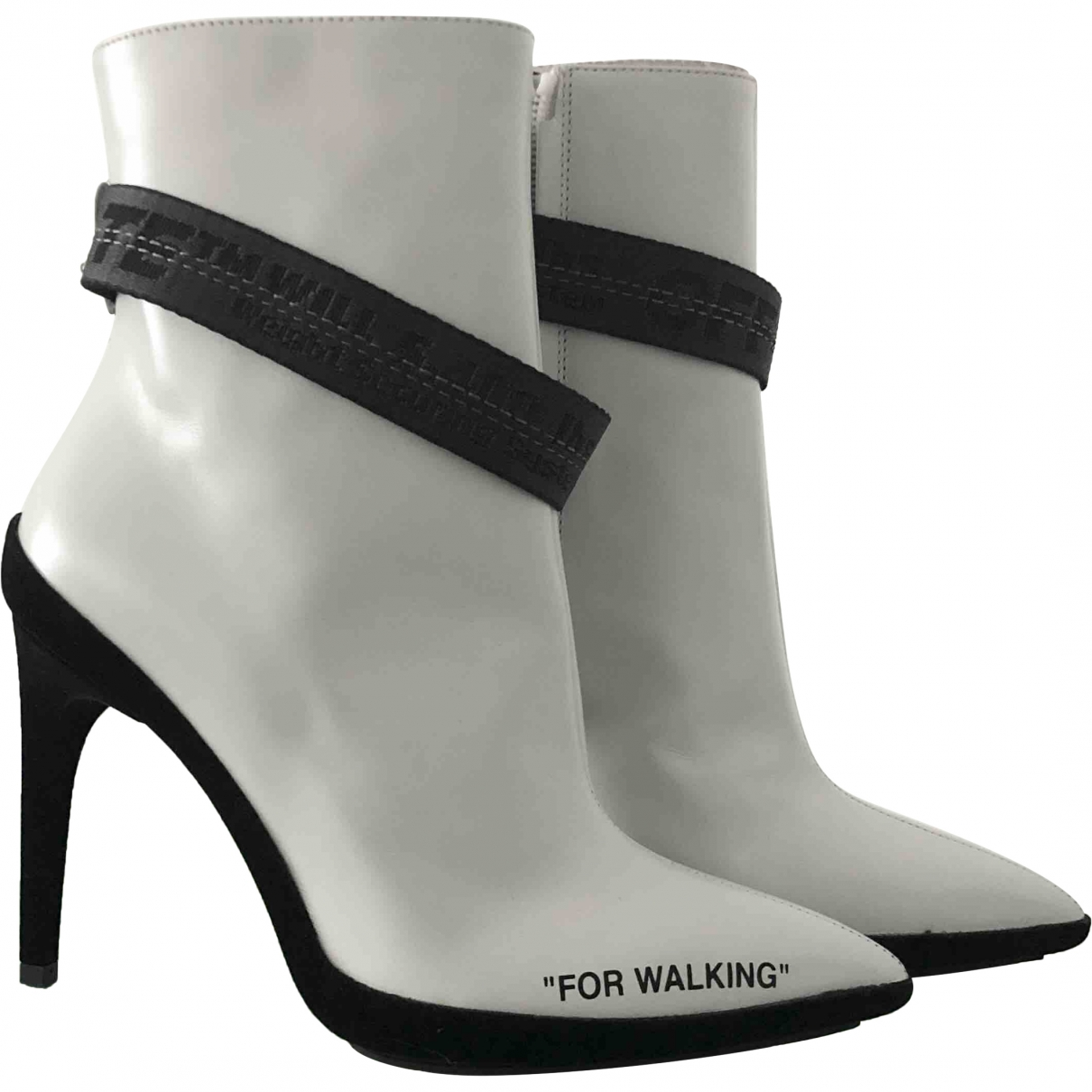 Off-white \N White Leather Ankle boots for Women 36 EU