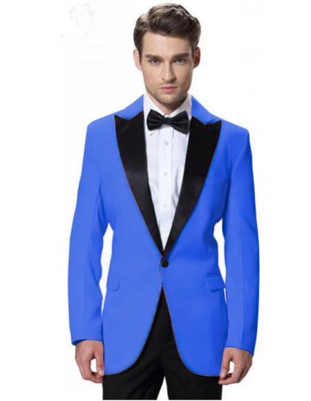 Mens Blue Jacket Black Lapel Tuxedos Pant 1 Button Elegant Slim Suit
