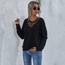 Contrast Lace Drop Shoulder Sweatshirt