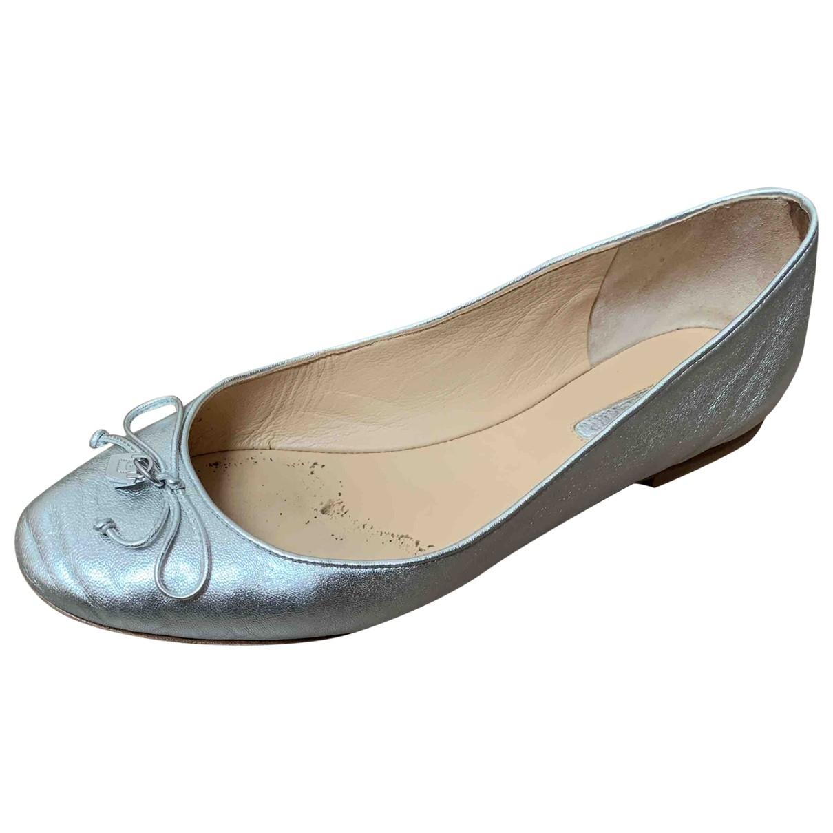 Longchamp \N Ballerinas in  Silber Leder