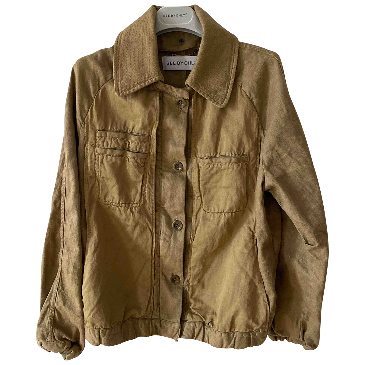 See By Chloé \N Khaki Linen Leather jacket for Women 36 FR