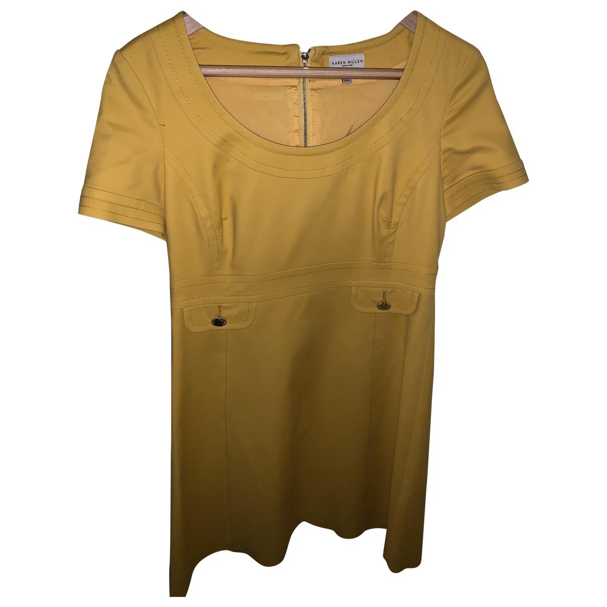 Karen Millen \N Kleid in  Gelb Baumwolle - Elasthan