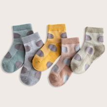5 Paare Kleinkind Jungen Socken mit Punkten Muster