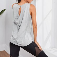 Cut Out Back Solid Sports Tank Top