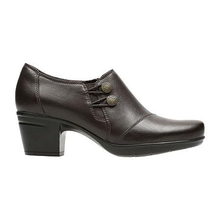 Clarks Emslie Warren Leather Womens Slip-On Shoes, 9 1/2 Wide, Brown