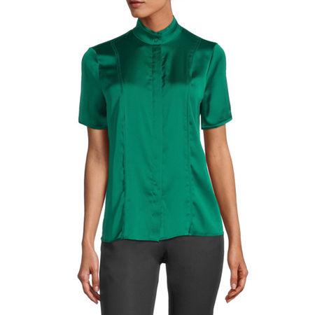 Worthington Womens Short Sleeve Satin Blouse, X-small , Green