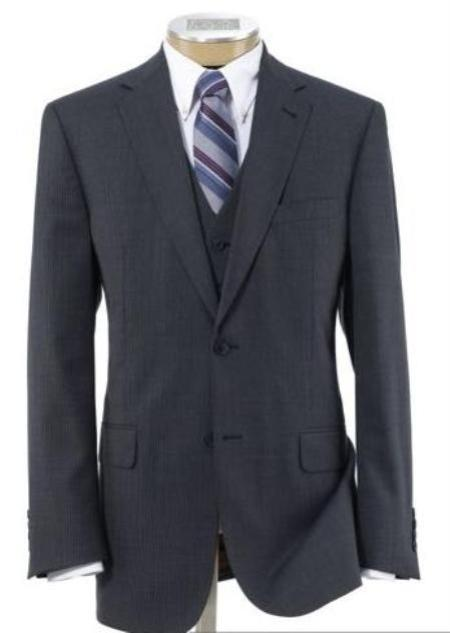 Mens 2 Button Wool Vested Three Piece Suit With Pleated Trousers Grey