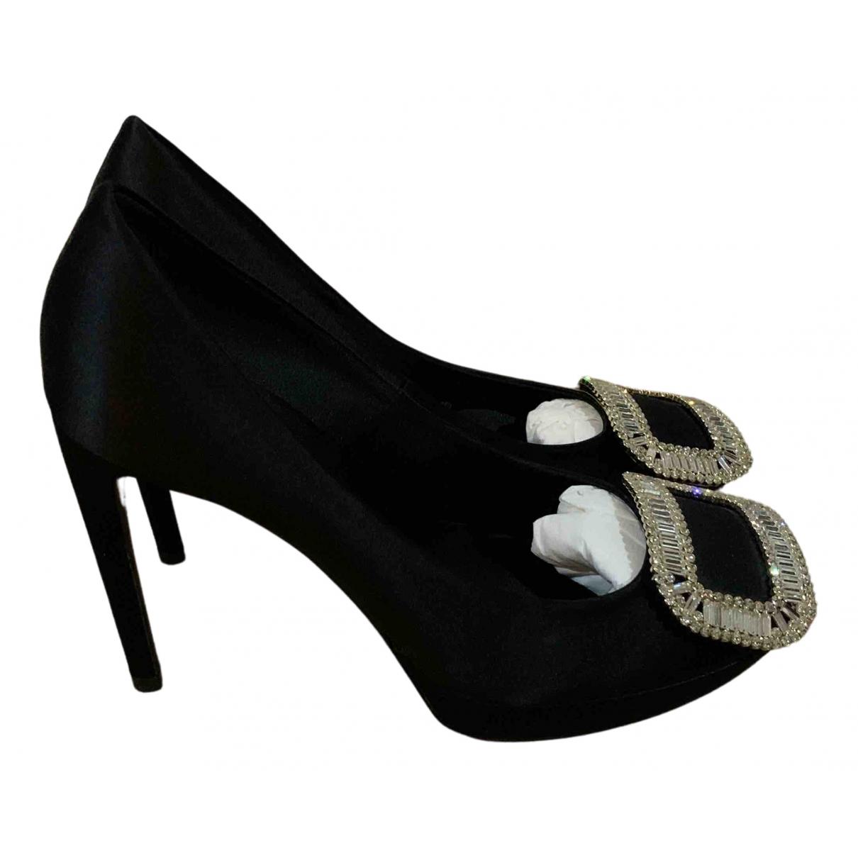 Roger Vivier Trompette Black Leather Heels for Women 37 EU