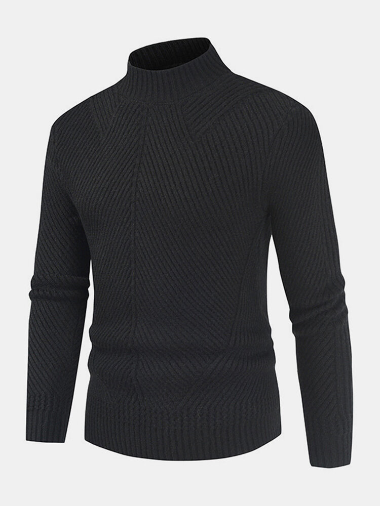 Mens Solid Color Twill Crew Neck Slim Casual Winter Warm Sweater