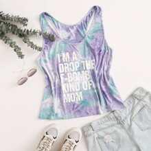 Plus Slogan Graphic Tie Dye Tank Top