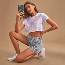 Crop T-Shirt mit Batik