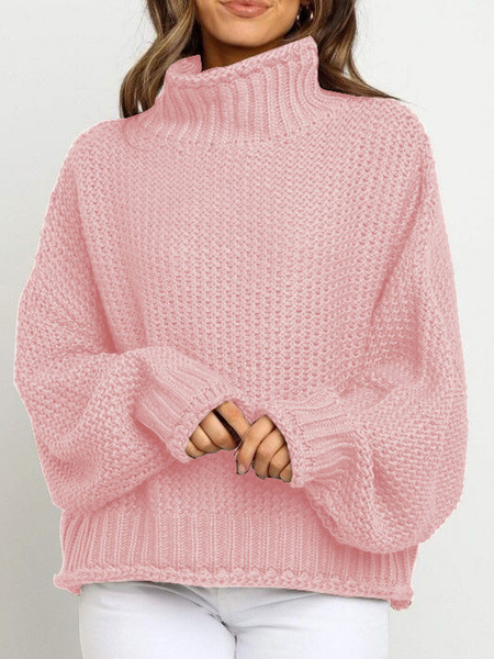 Milanoo Jerseys para mujer Sueteres de manga larga de cuello alto gris